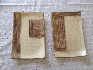 四角皿-木模様