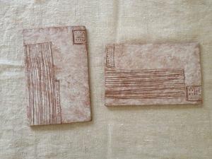 陶板-数字と木模様